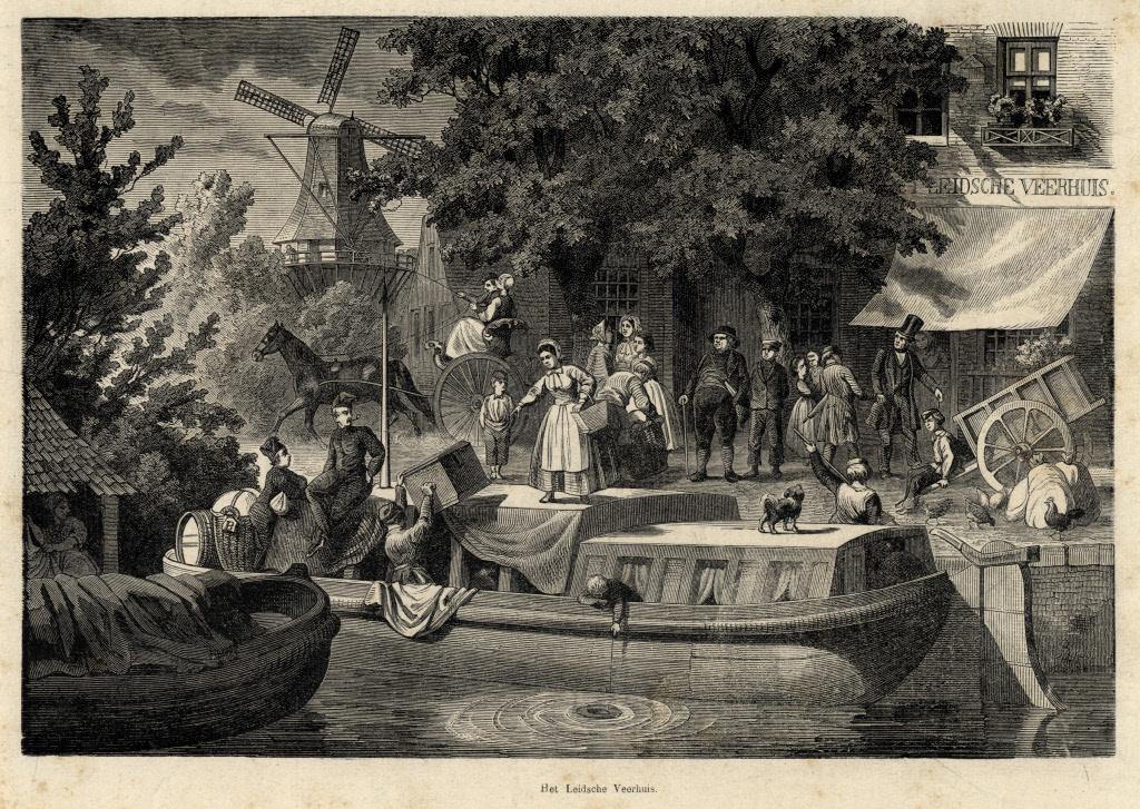 De trekschuit bij het Leidse veerhuis in 1869. Op de achtergrond molen De Kat aan de Vleutensenweg.